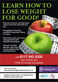 Lose weight using hypnotherapy flyer front